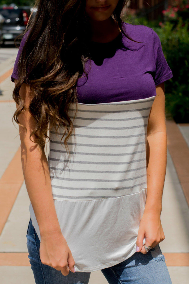 From This Moment Plum Striped Top - 512 Boutique