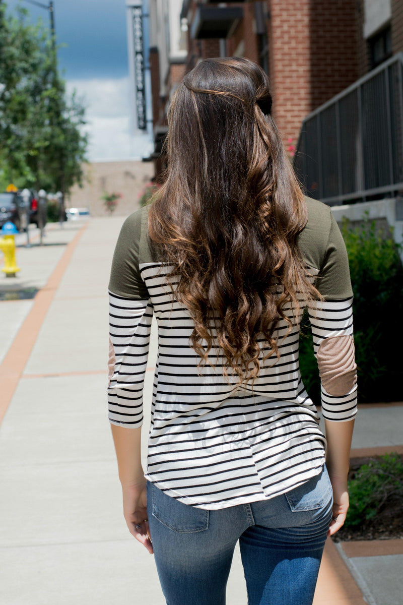 All For You Olive Striped Top - 512 Boutique