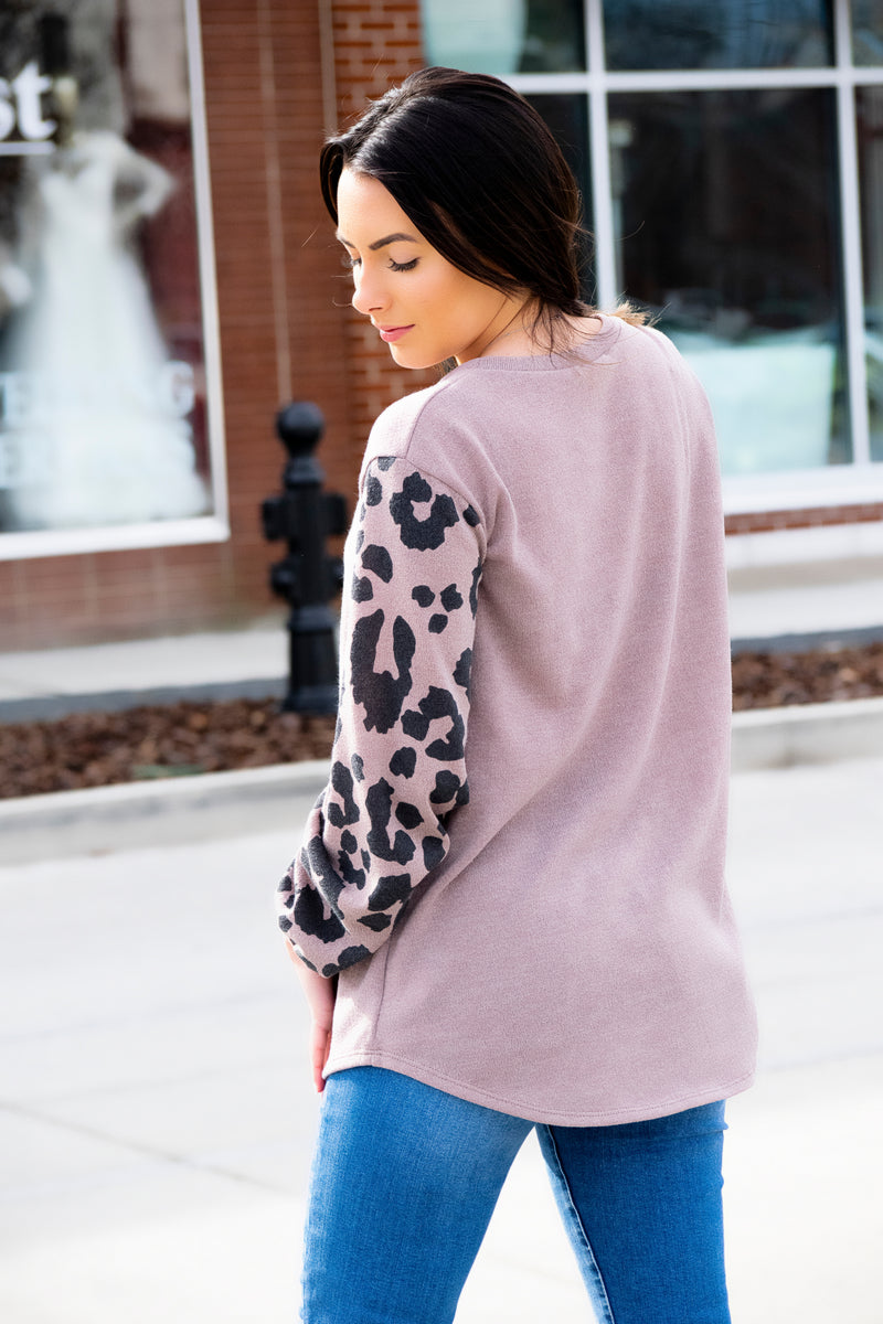 Animal Print Sleeve Top - 512 Boutique