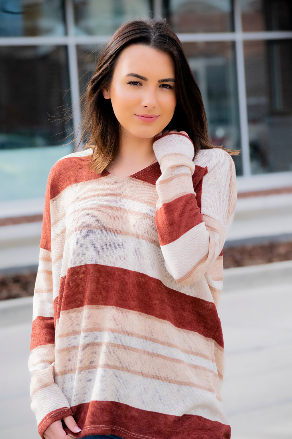 Rust Stripe Lightweight Sweater - 512 Boutique