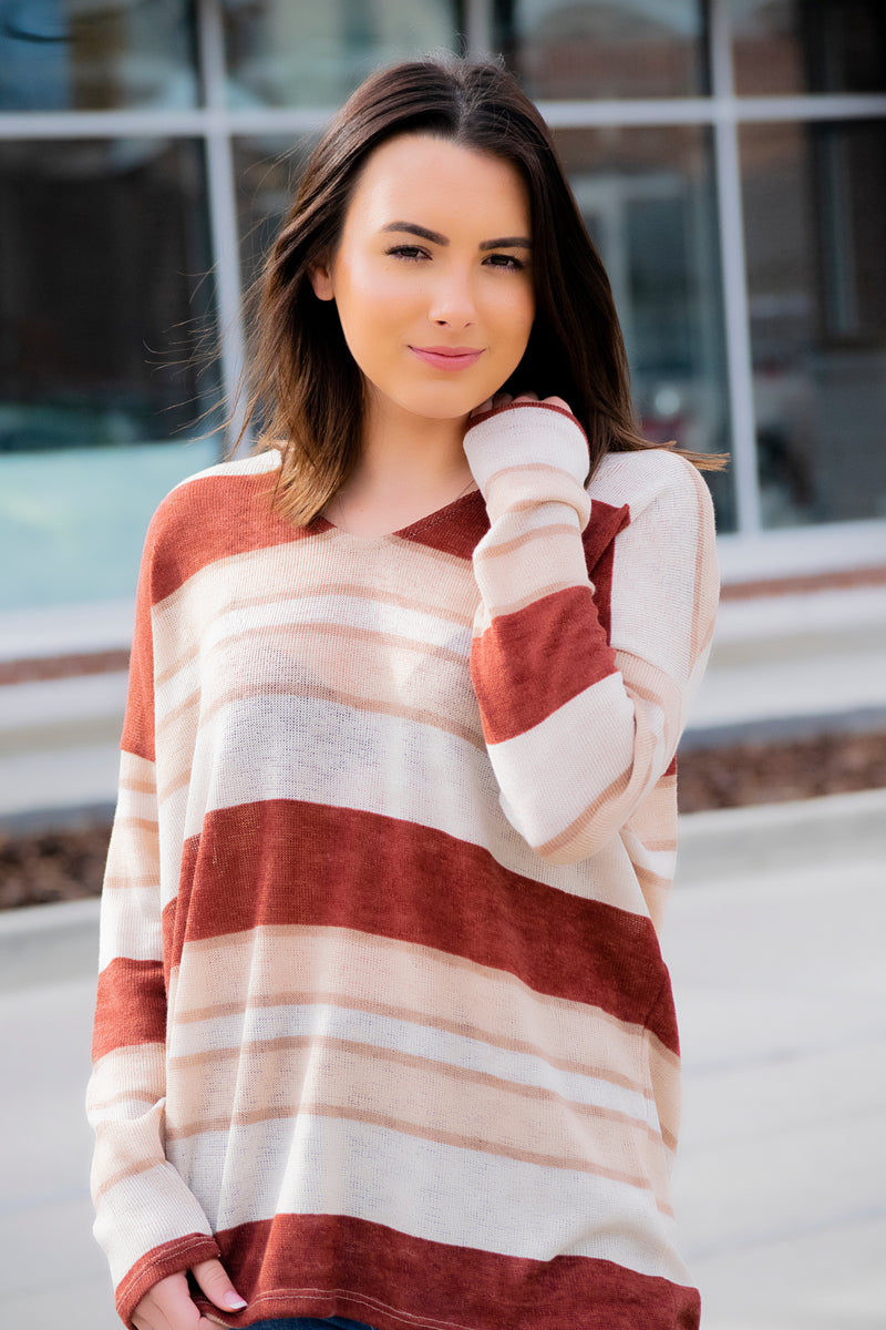 Double Line Cardigan - Blush