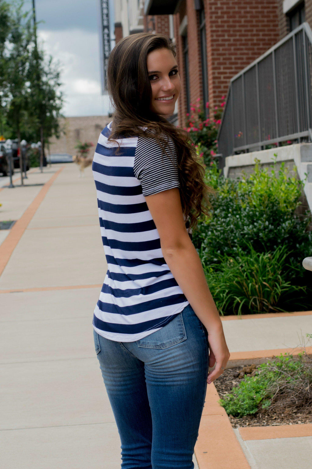 Forever And Always Navy Striped Pocket Tee - 512 Boutique