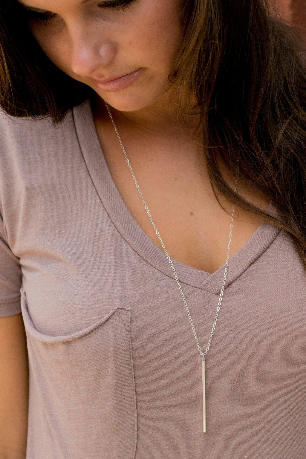 Simply Bar Necklace - Silver - 512 Boutique