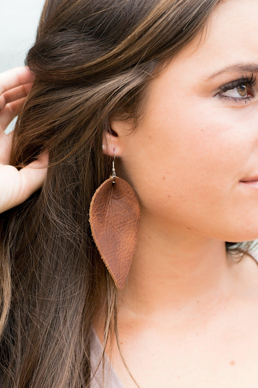 Brown Leather Teardrop Earrings - 512 Boutique