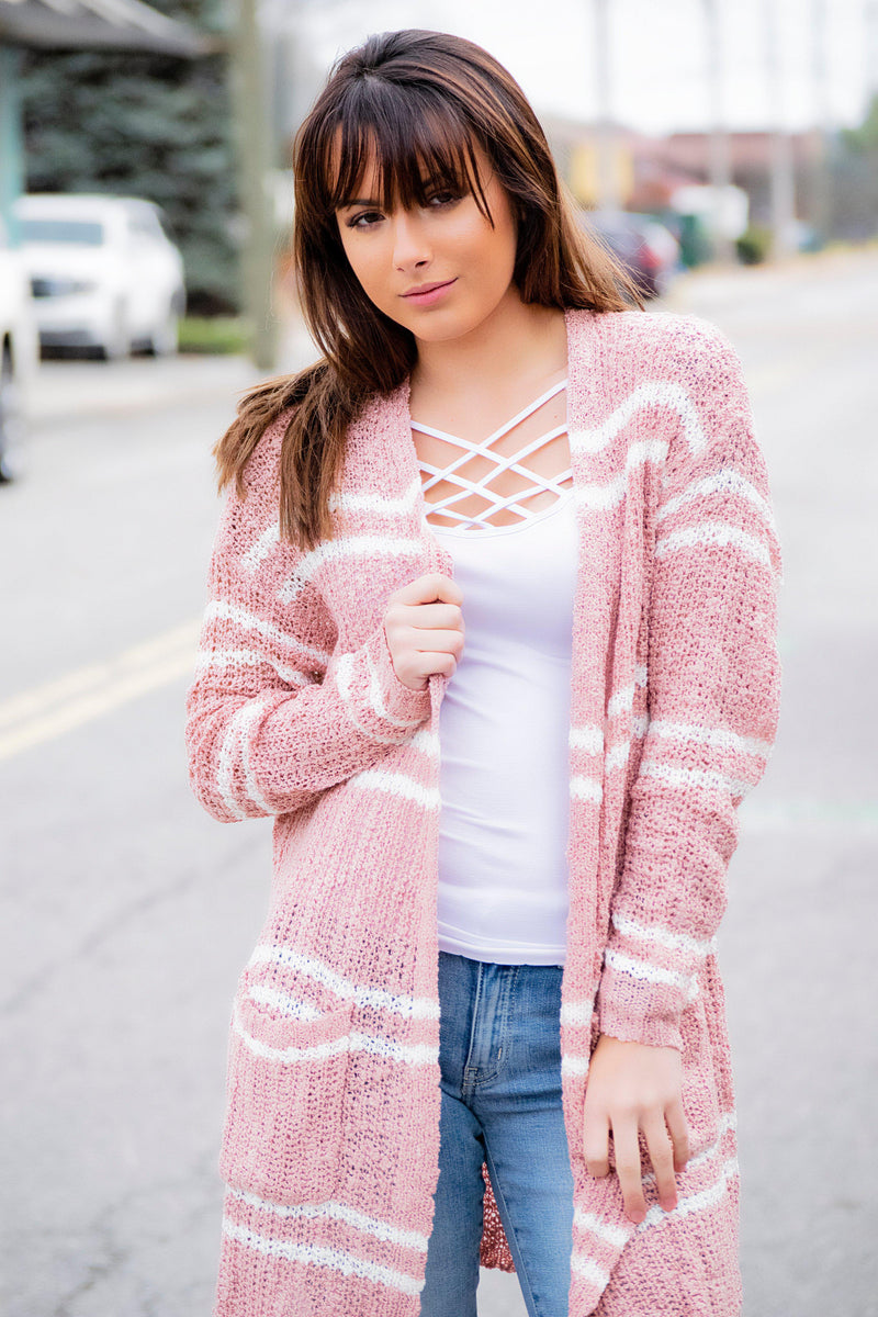 Double Line Cardigan - Blush - 512 Boutique