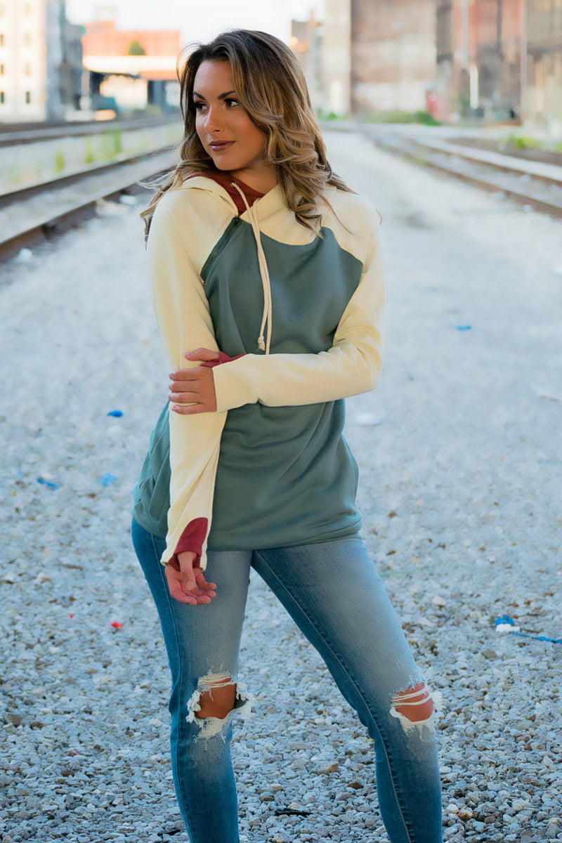 Lovin' This Double Hoodie - Sage - 512 Boutique
