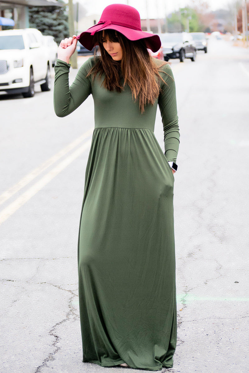 Simple as that Maxi Dress Olive - 512 Boutique