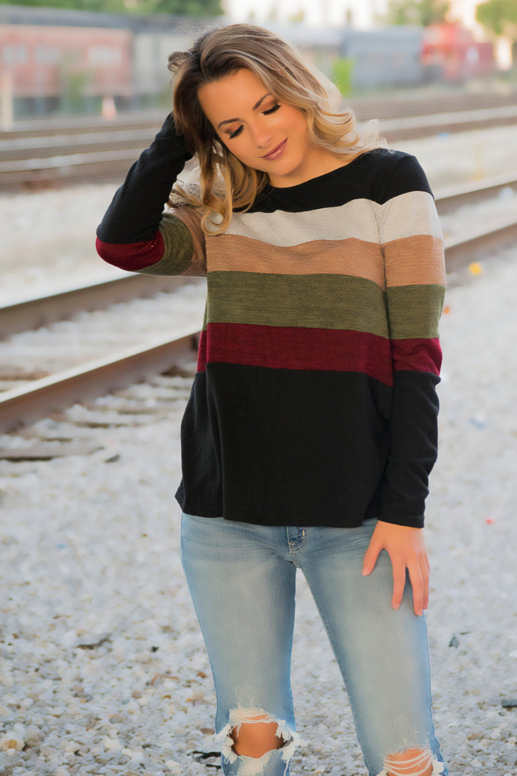 Double Button Sweater - Burgundy - 512 Boutique