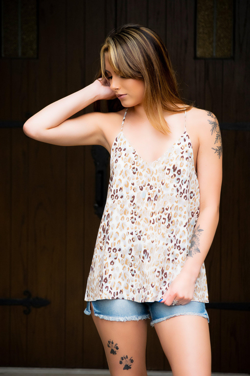 Got Your Attention Tank- Animal Print Taupe - 512 Boutique