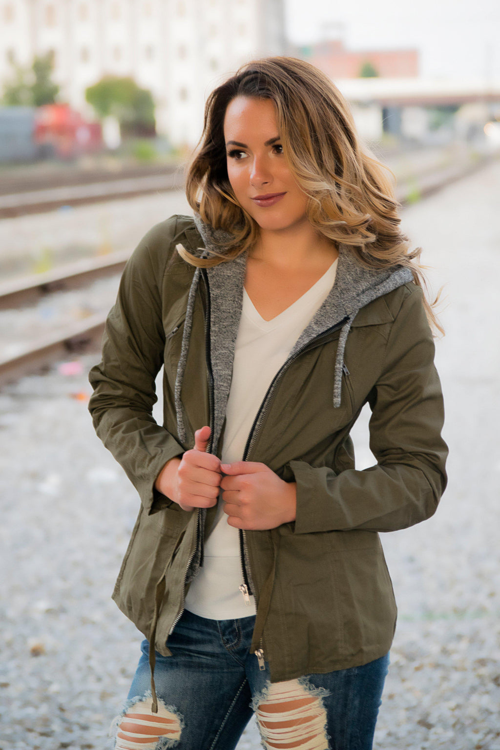 Easy To Love Jacket- Olive - 512 Boutique