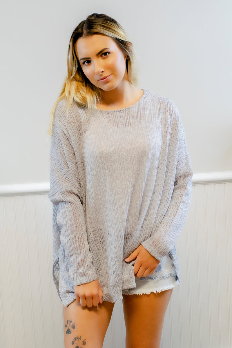 Lightweight Gray Sweater - 512 Boutique