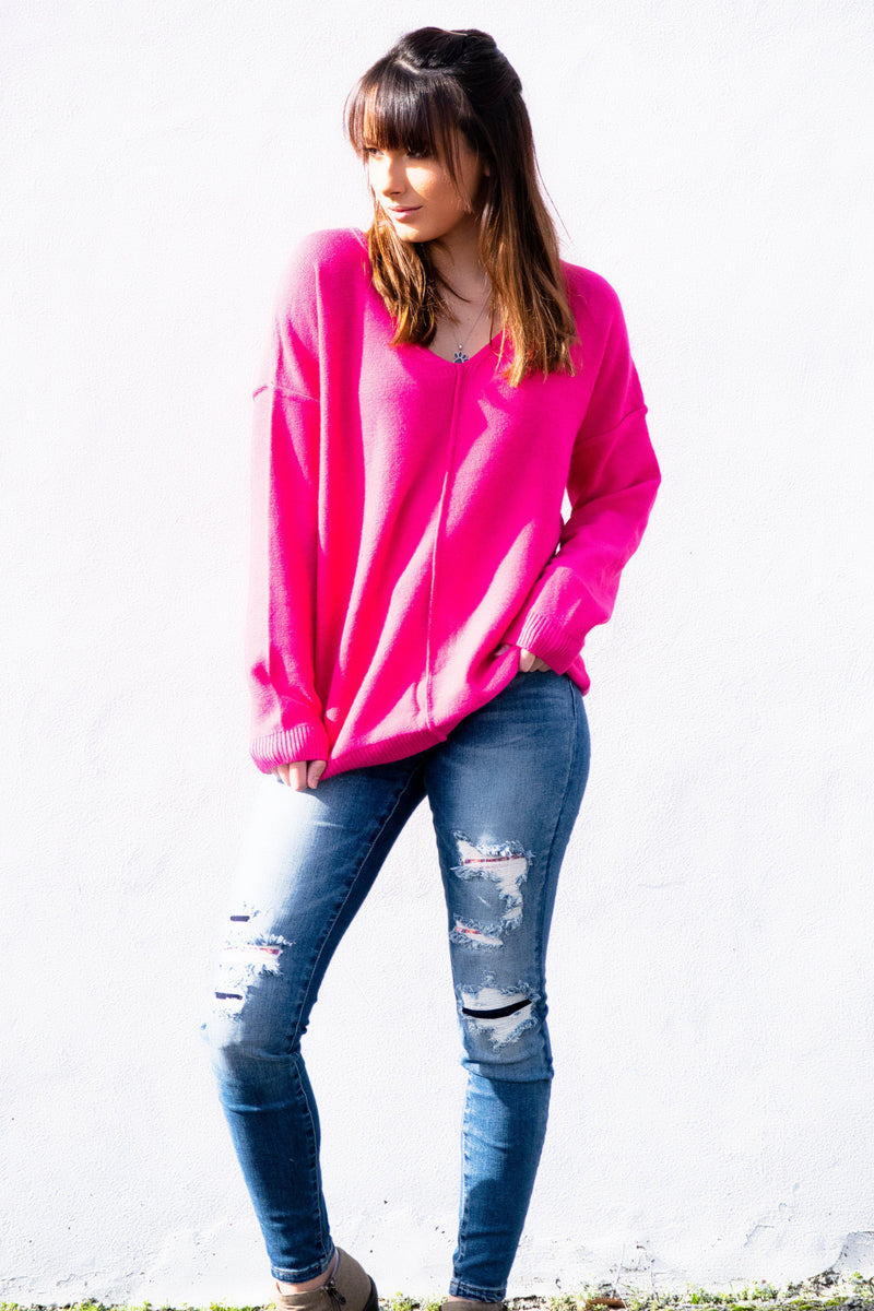 See Me Now Top- Hot Pink - 512 Boutique