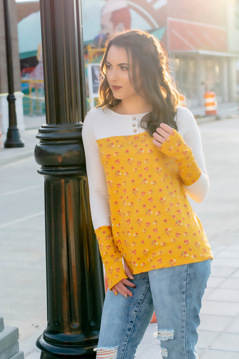 Yellow Floral Top - 512 Boutique