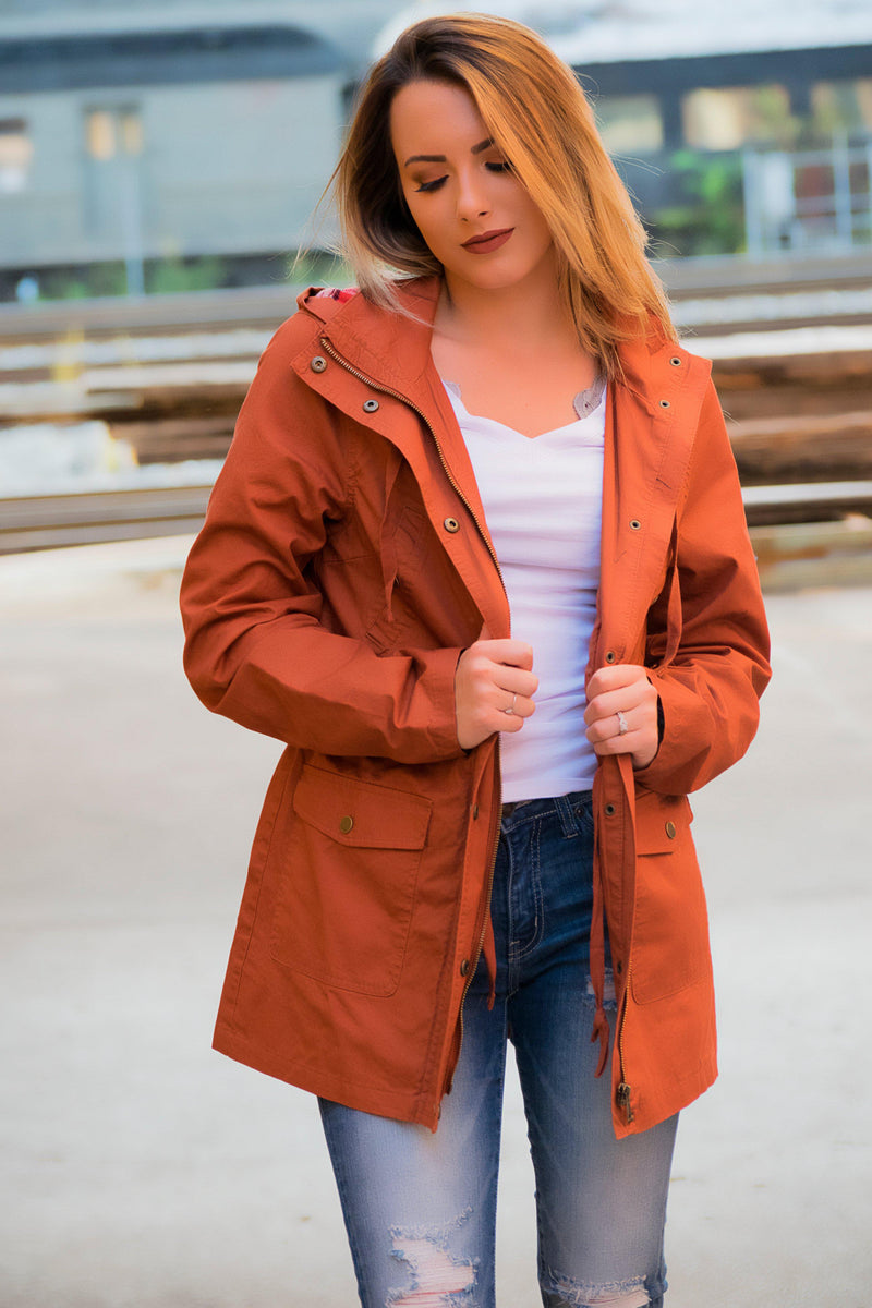 Flannel Lined Hood Utility Jacket - Rust - 512 Boutique