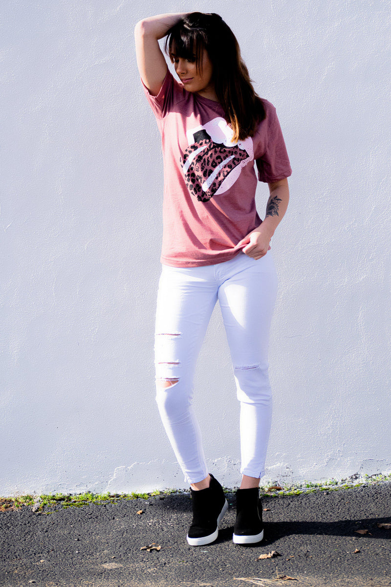 I'm With The Band Tee- Mauve - 512 Boutique