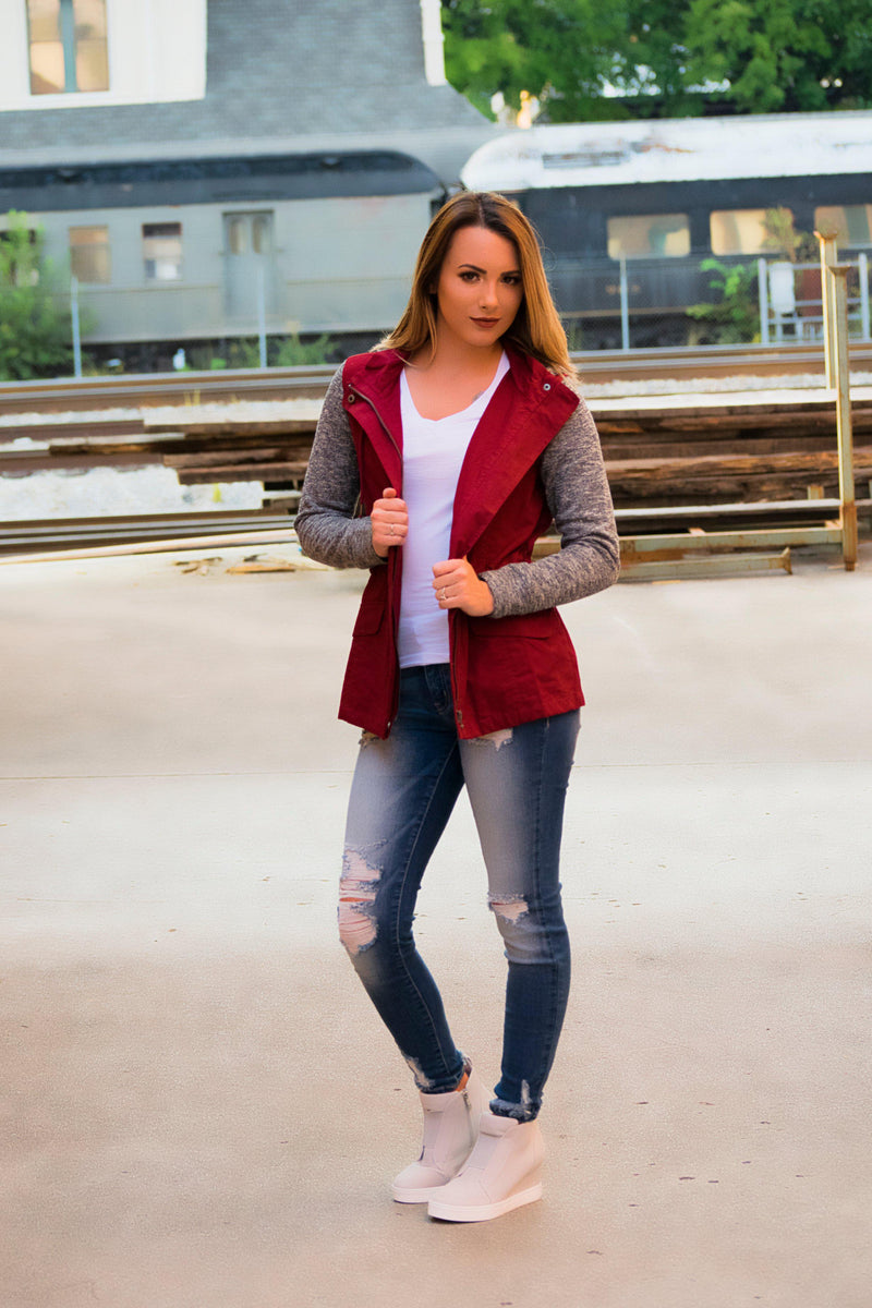Sounds So Good Jacket- Burgundy - 512 Boutique