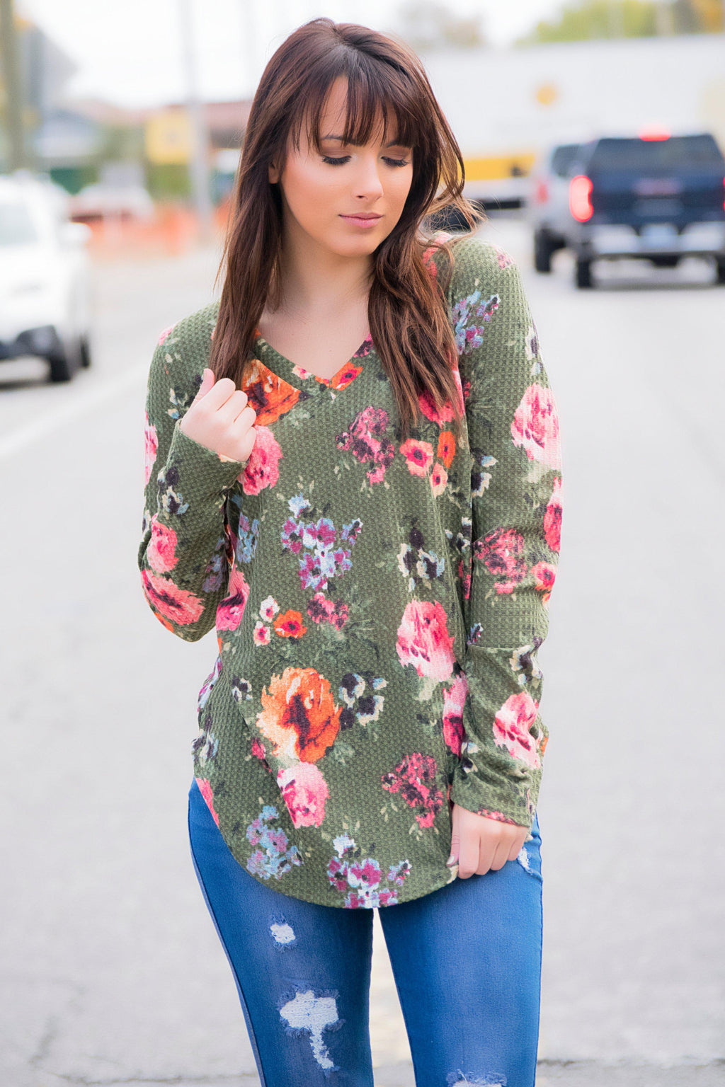 Stop Time Floral Waffle Knit Top -Olive - 512 Boutique