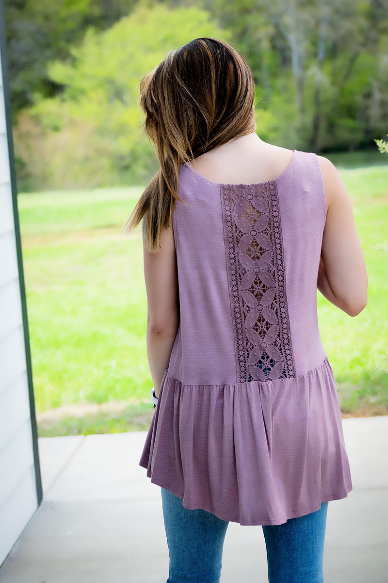 Crochet Back Tank- Mauve - 512 Boutique