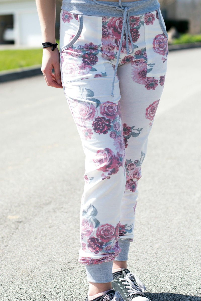Purple Floral Joggers - 512 Boutique