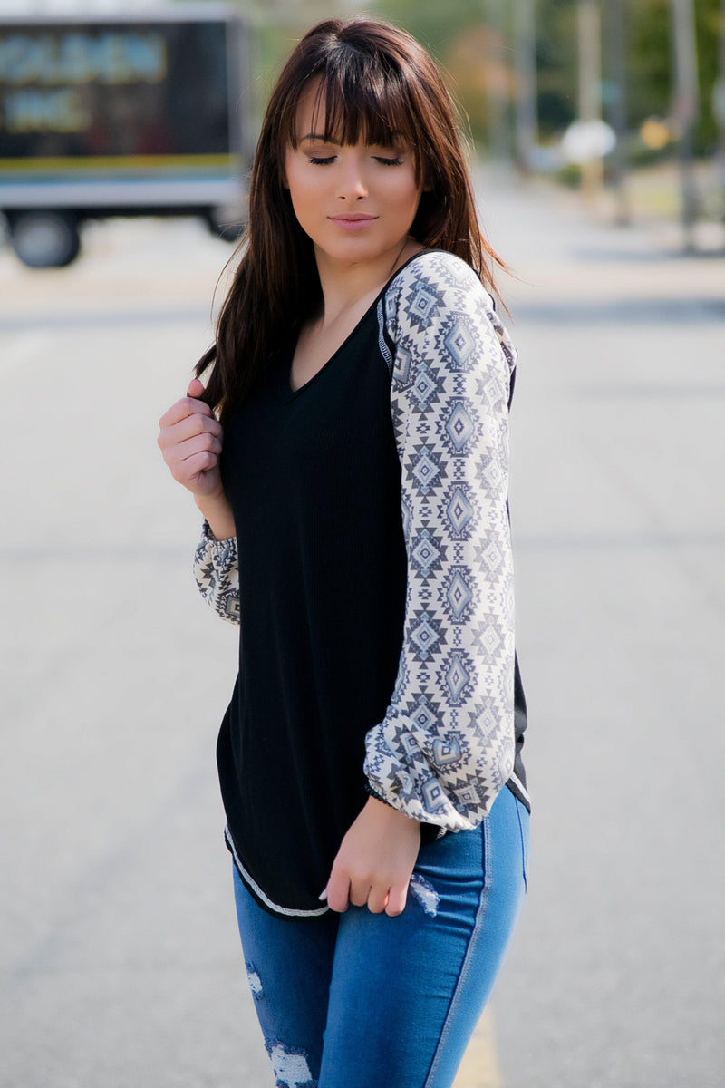 Aztec Sleeve Raglan Top - 512 Boutique