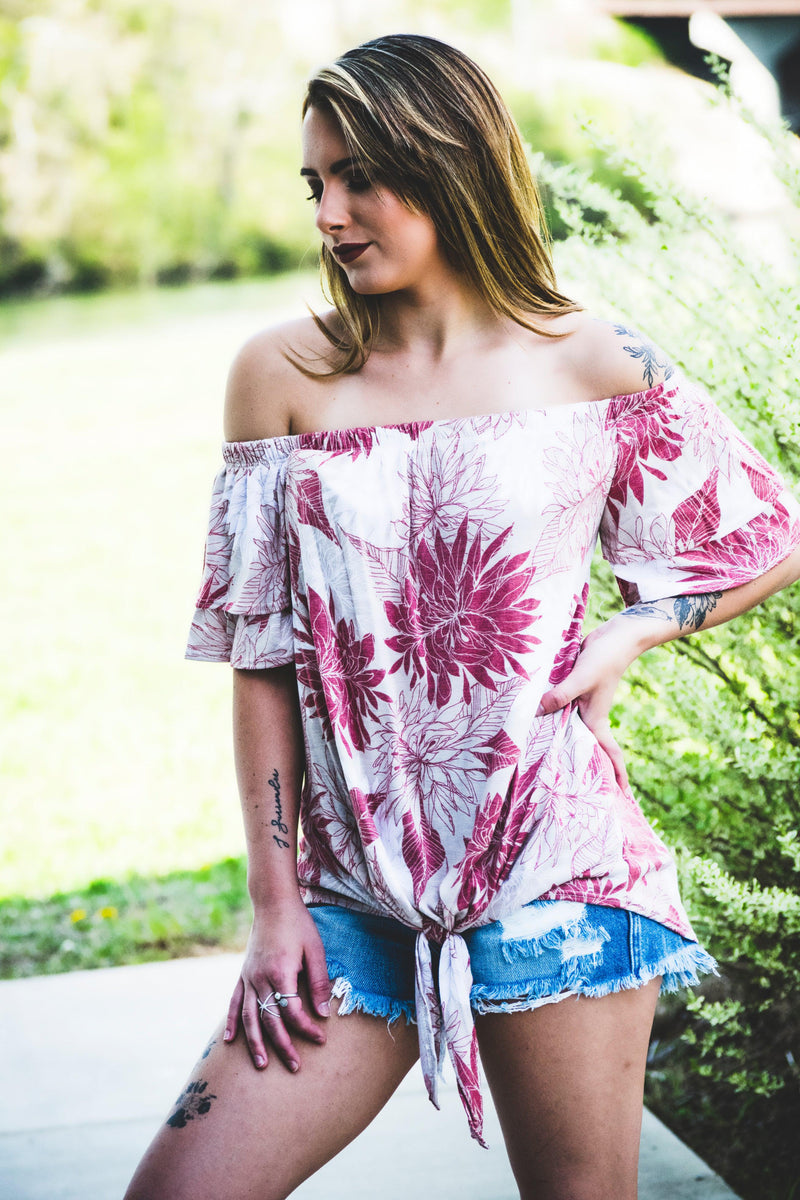 Off Shoulder Floral Top - 512 Boutique