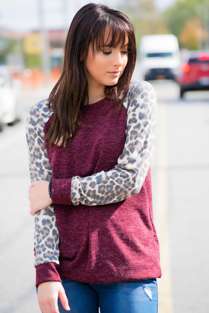 Animal Print Sleeve Top- Burgundy - 512 Boutique