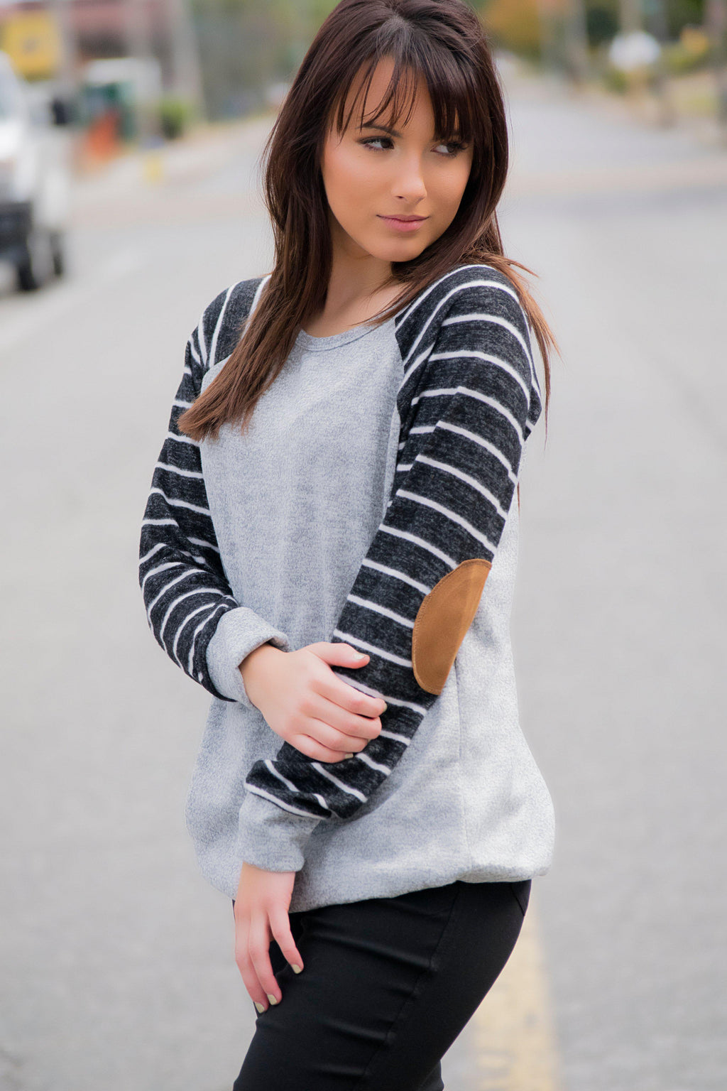By Surprise Elbow Patch Top-Gray - 512 Boutique