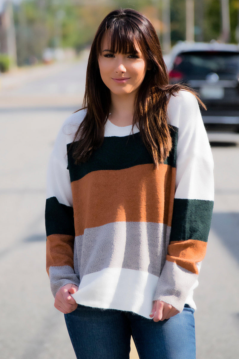 Mountain Escape Sweater - Green/Camel - 512 Boutique