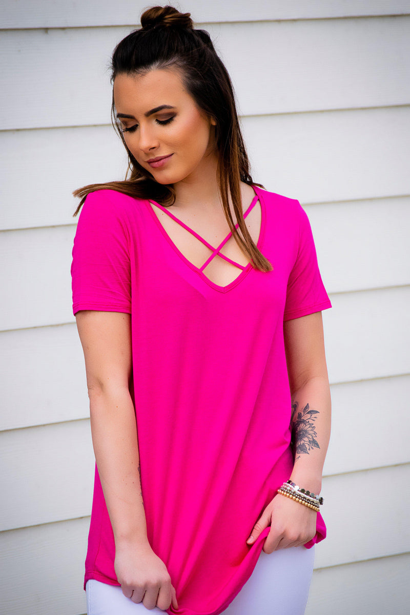 Cross My Heart Top- Pink - 512 Boutique