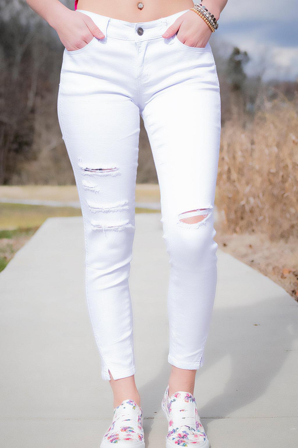 Tatum White Distressed KanCan Jeans - 512 Boutique