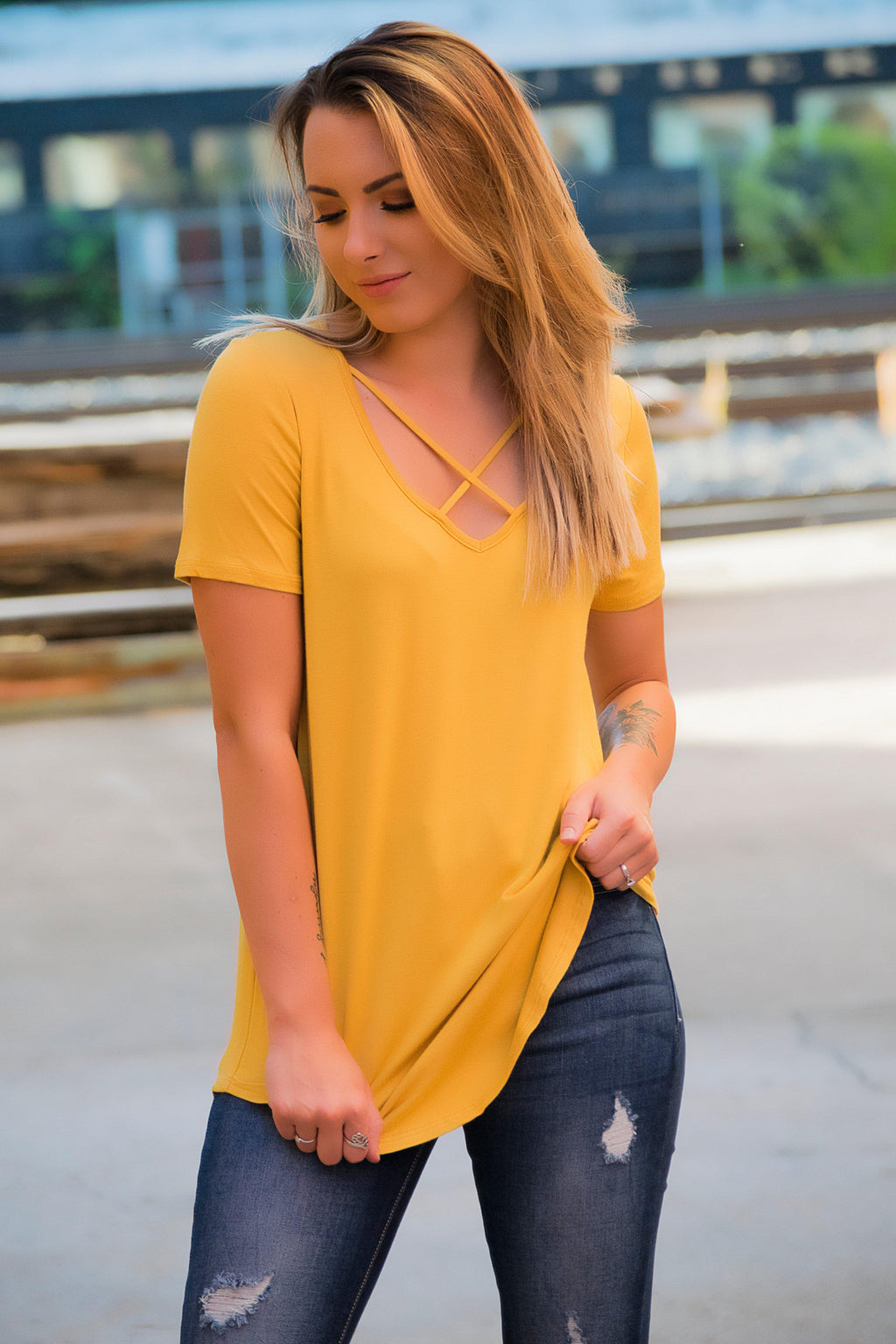 Criss Cross Top- Mustard - 512 Boutique