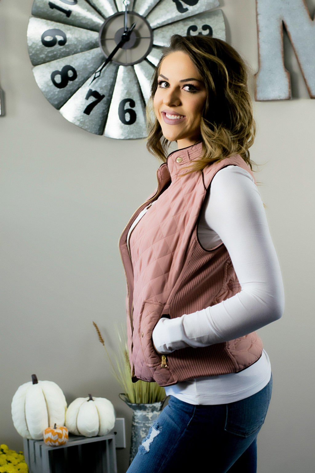 Oh So Sassy  Quilted Vest- Mauve - 512 Boutique
