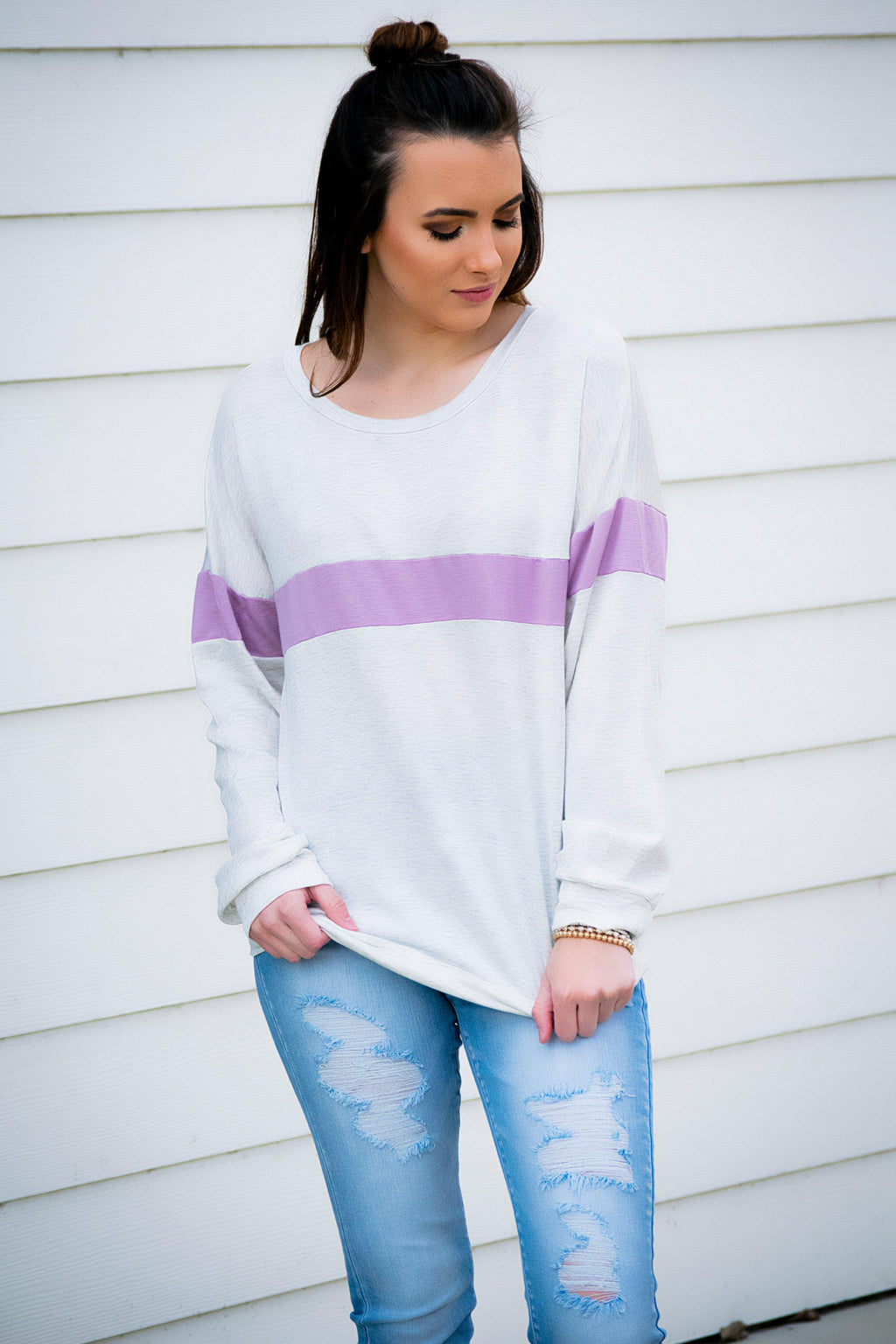 Lavender Stripe Pullover - 512 Boutique