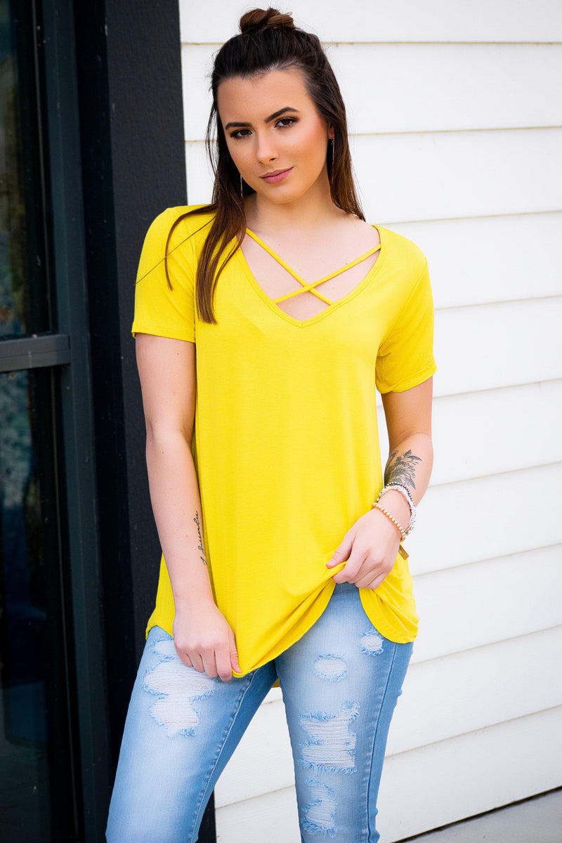 Cross My Heart Top- Sunshine - 512 Boutique