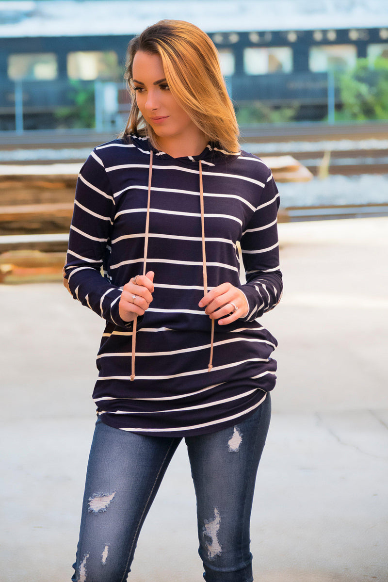 All About The Stripes Top- Navy - 512 Boutique