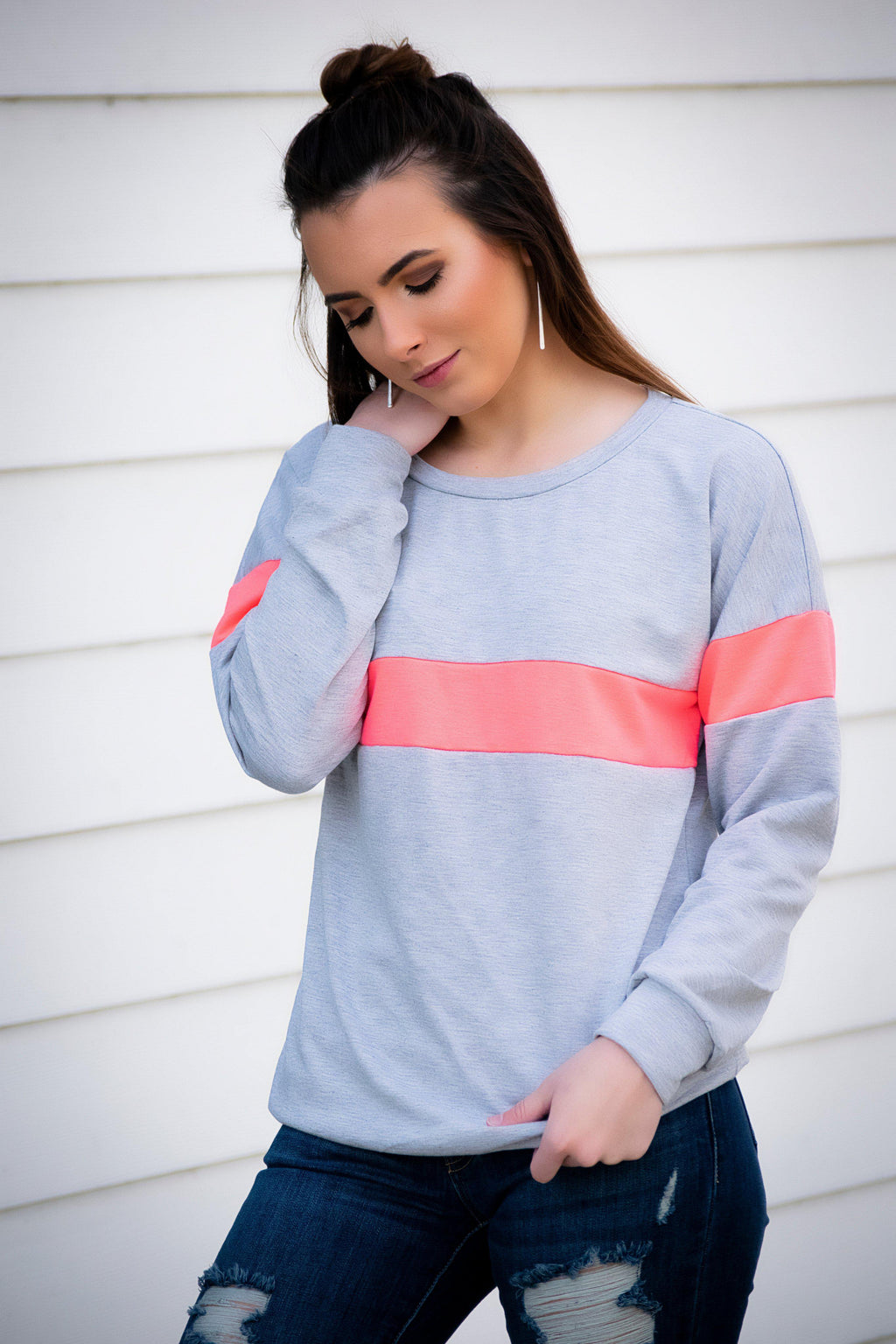Pink/Gray Stripe Pullover - 512 Boutique