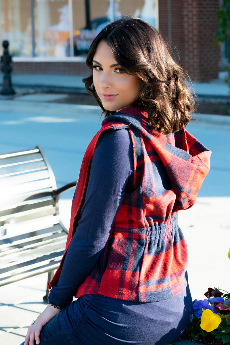 Soft Plaid Vest- Red - 512 Boutique