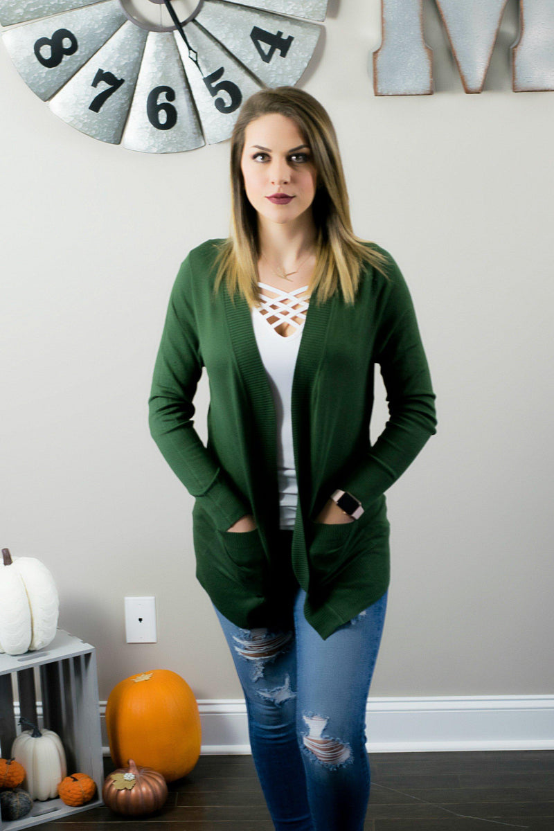 Everyday Cardigan- Olive - 512 Boutique