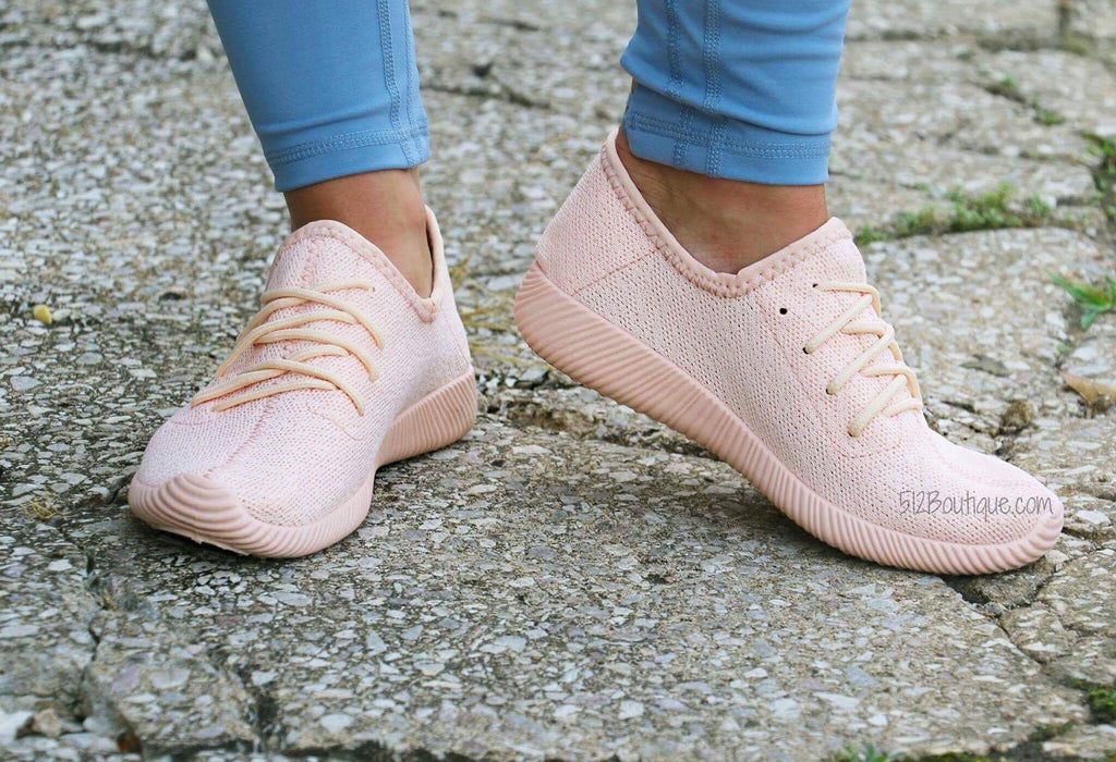 Lets Work Out Tennis Shoes- Pink - 512 Boutique