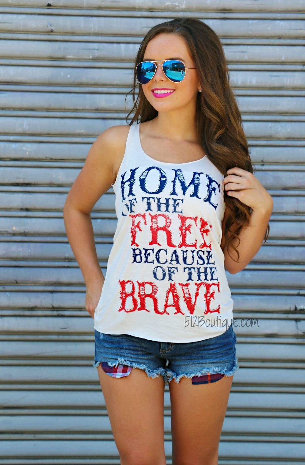Home Of the Free Because of The Brave Tank - 512 Boutique