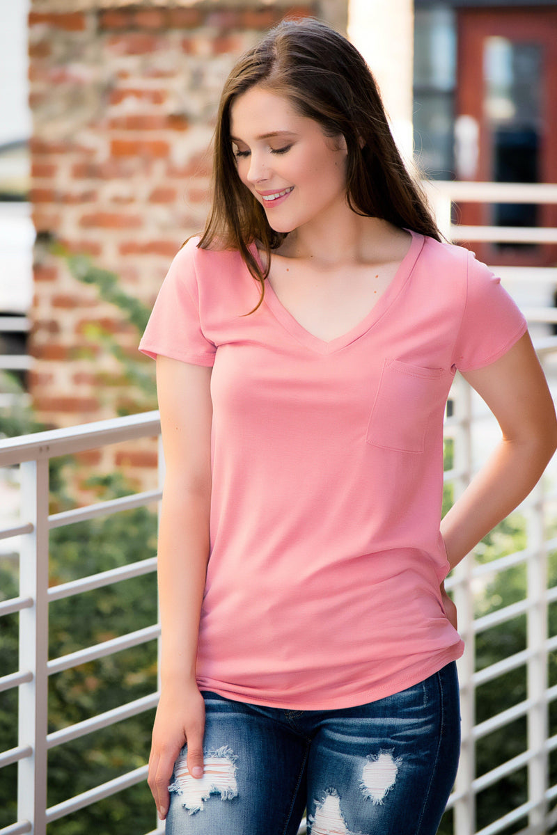 Pocket Tee- Pink - 512 Boutique
