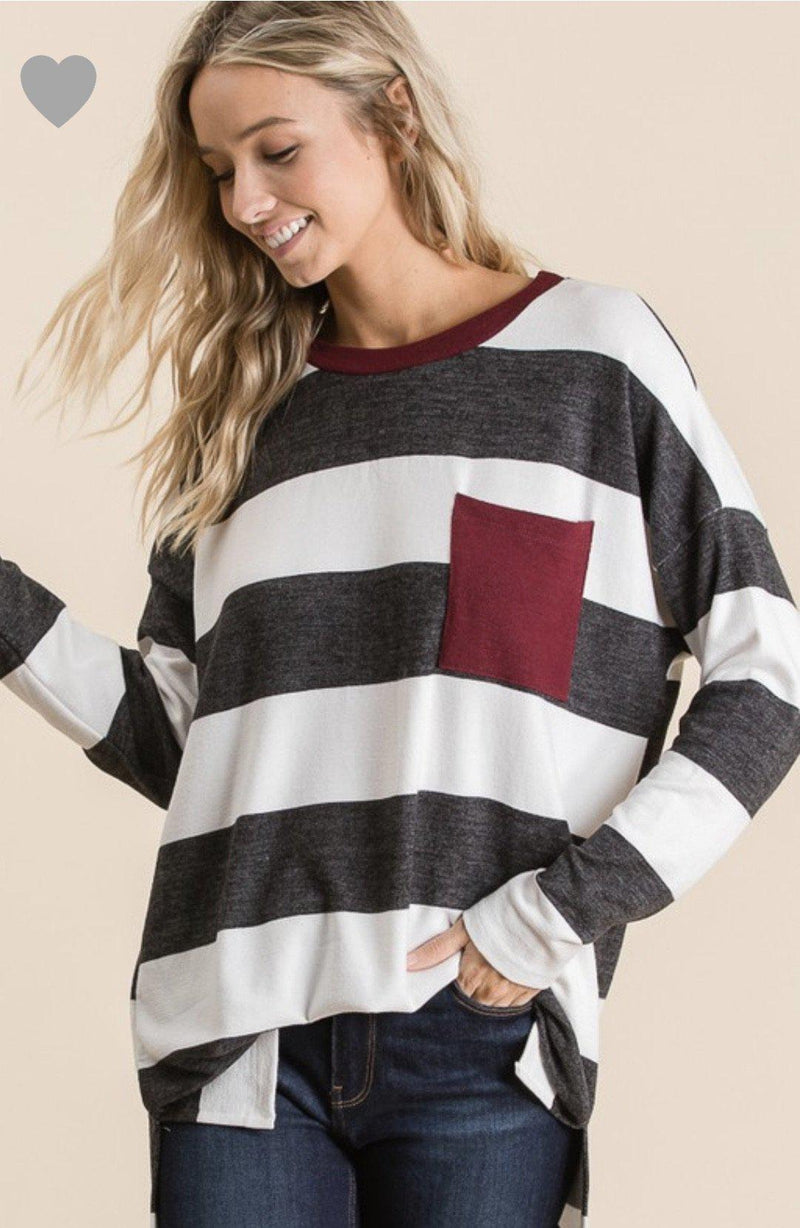 Gray/Maroon striped Top - 512 Boutique