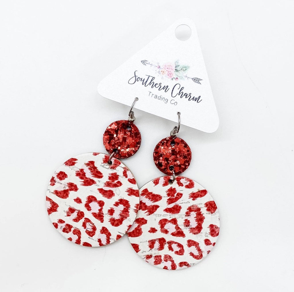 Red Glitter & Red/White Leopard Piggybacks Earrings - 512 Boutique