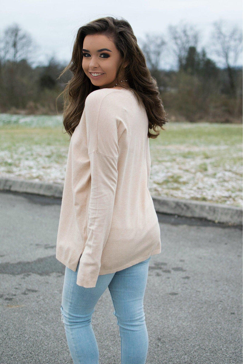 Sweet Wishes Sweater- Taupe - 512 Boutique
