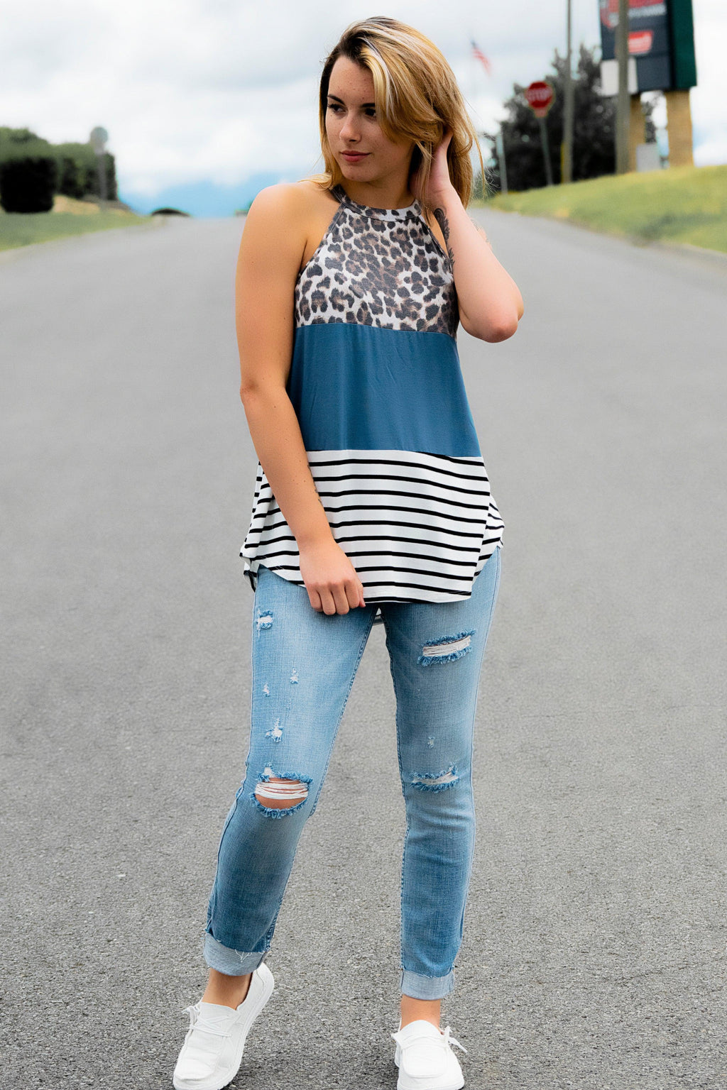 Teal + Animal Print Top - 512 Boutique