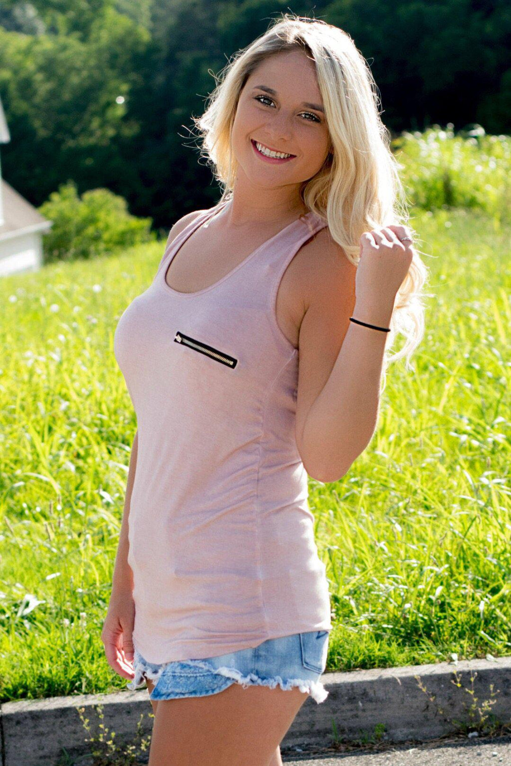 Lost In Love Pocket Tank - Pink - 512 Boutique
