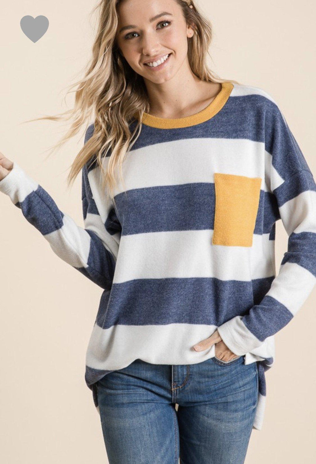 Navy/Mustard striped Top - 512 Boutique