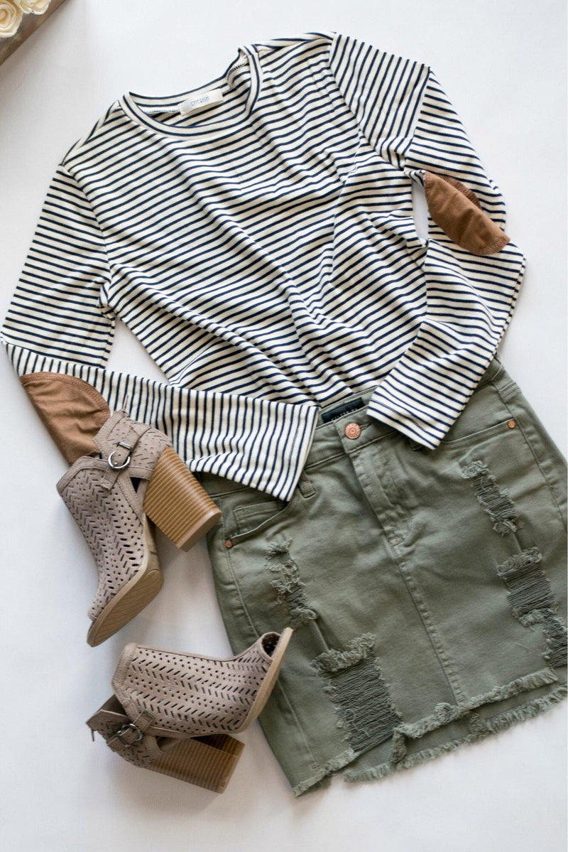 Simple Days Gray Striped Zipper Top