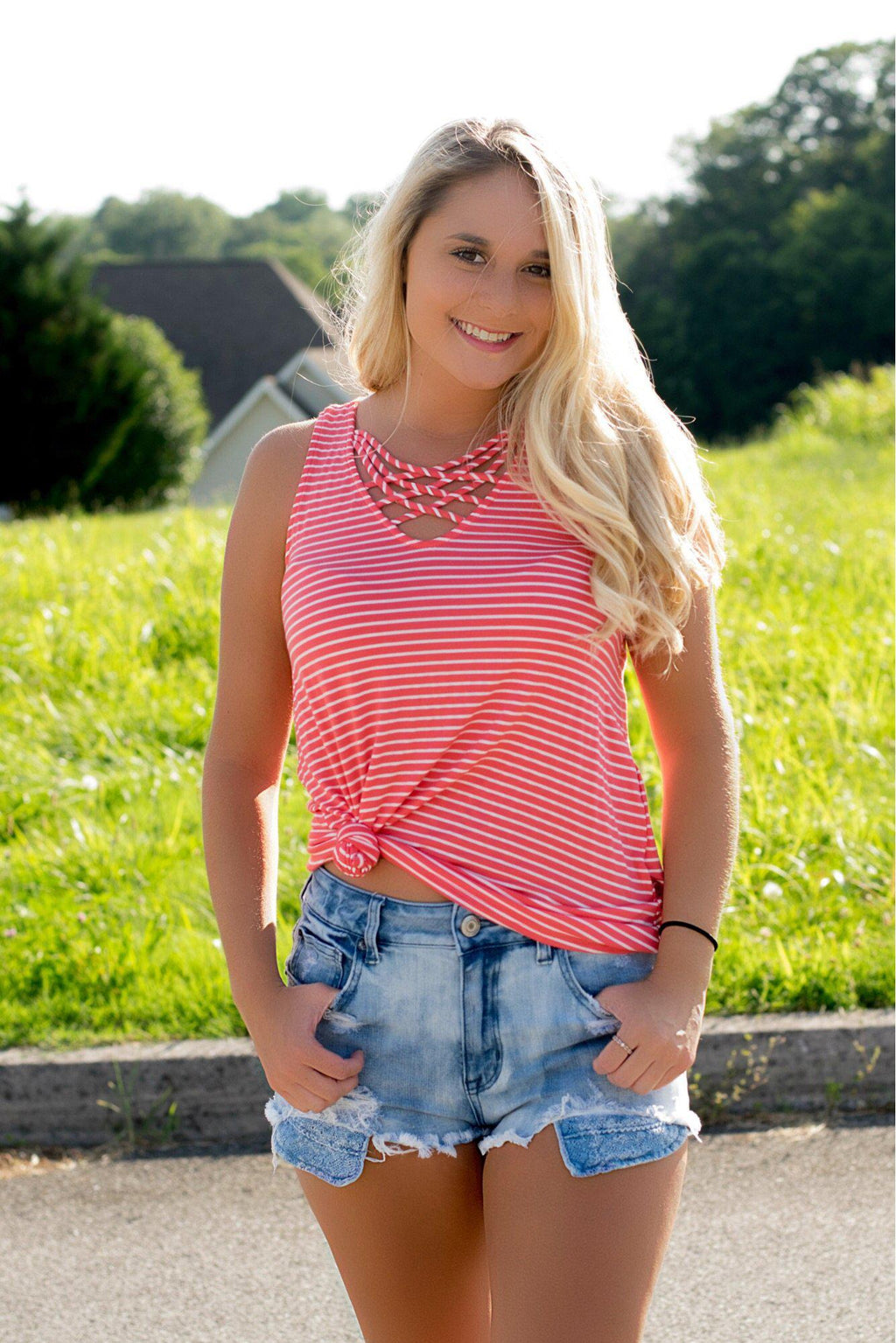 Lucky Charm Striped Tank- Coral - 512 Boutique