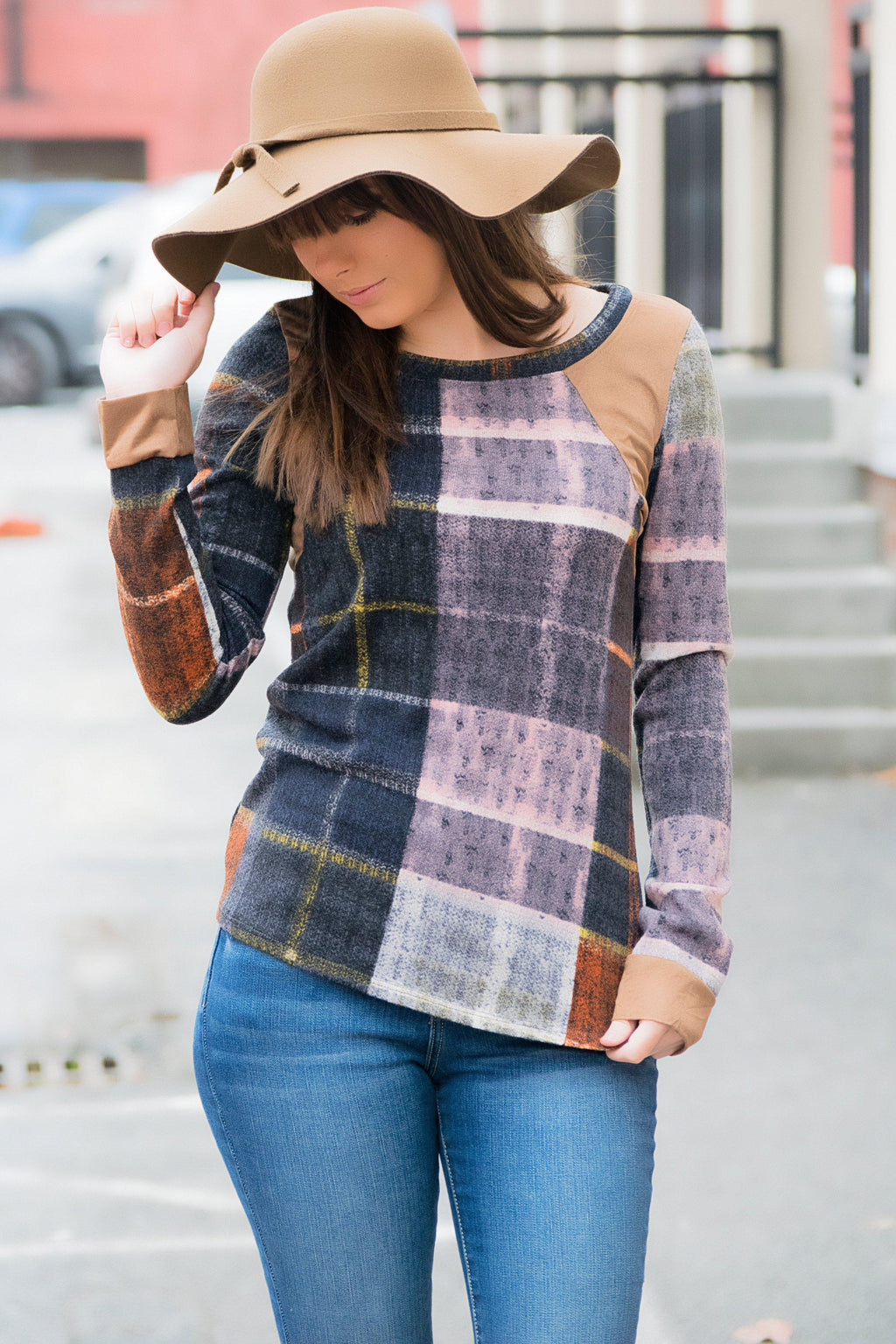 Plaid + Suede Top - 512 Boutique
